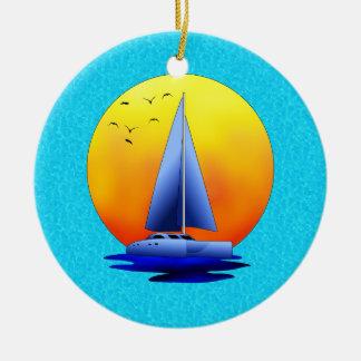 Navegación del catamarán adorno para reyes