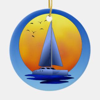 Navegación del catamarán adorno redondo de cerámica
