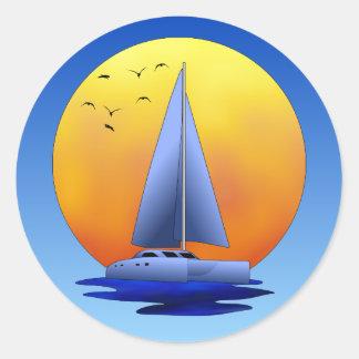 Navegación del catamarán pegatina redonda