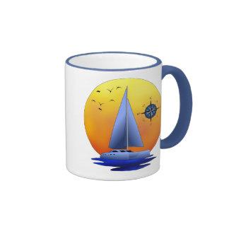 Navegación del catamarán tazas de café