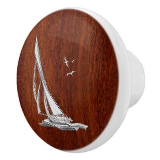 Navegación del cromo en la impresión de caoba pomo de cerámica
