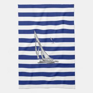 Navegación del cromo en rayas náuticas toallas de mano