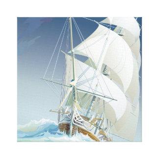 Navegación del cuadrado del mar 2 lienzo envuelto para galerías