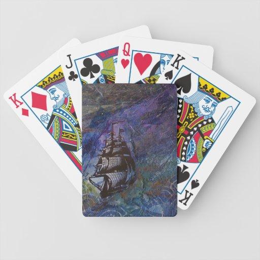 Navegación del pirata en el collage de la noche baraja de cartas