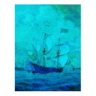 Navegación en aguas tranquilas de la turquesa postal