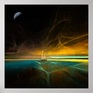 Navegación en claro de luna mágico póster