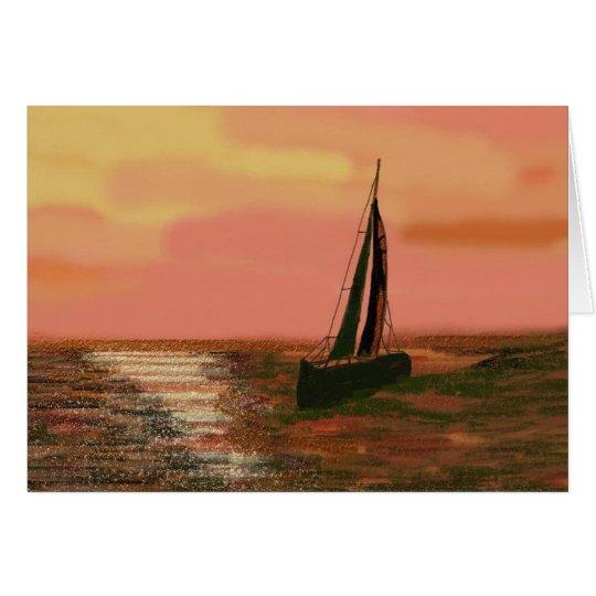 Navegación en el cielo anaranjado tarjeta pequeña