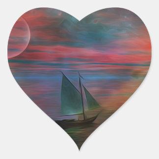 Navegación en el desconocido pegatina en forma de corazón