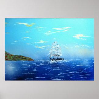Navegación en la bahía de Drake Póster