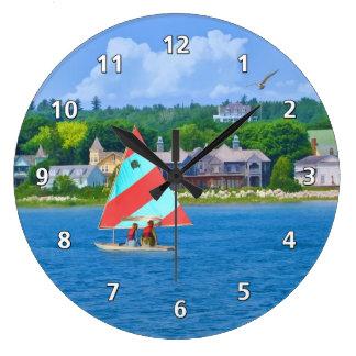 Navegación en la parte superior Michigan del lago  Reloj Redondo Grande