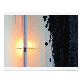 Navegación en la puesta del sol impresiones fotograficas