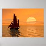 Navegación en la puesta del sol posters