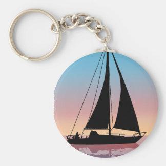 Navegación en la silueta de la puesta del sol llavero redondo tipo pin