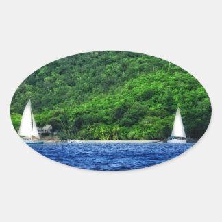 Navegación en las Islas Vírgenes de los E.E.U.U. Calcomanías Ovales Personalizadas