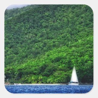 Navegación en las Islas Vírgenes de los E.E.U.U. Calcomanía Cuadradas Personalizada