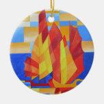 Navegación en los siete mares tan azules ornamento de navidad
