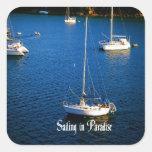 Navegación en paraíso pegatina cuadrada