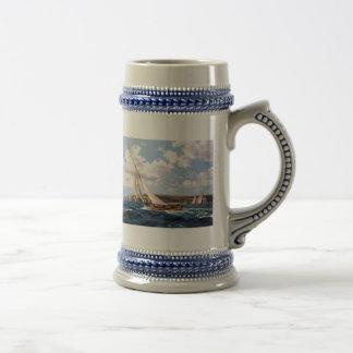 Navegación en un mar agitado jarra de cerveza