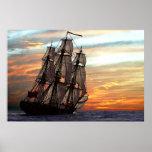 navegación hacia puesta del sol poster