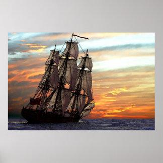 navegación hacia puesta del sol póster
