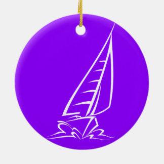Navegación púrpura violeta adorno redondo de cerámica