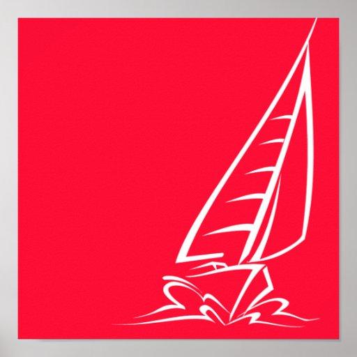 Navegación roja del escarlata; Barco de vela Póster