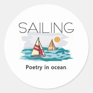 Navegación SUPERIOR, poesía en el océano Pegatina Redonda