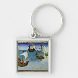 Navegadores que usan un astrolabio llavero cuadrado plateado