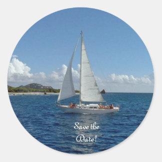 ¡Navegando, ahorre la fecha!  Productos del boda Pegatina Redonda