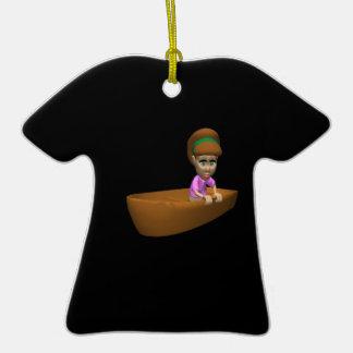 Navegante de la mujer adorno de cerámica en forma de camiseta