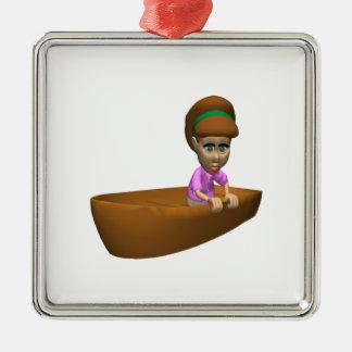 Navegante de la mujer adorno cuadrado plateado