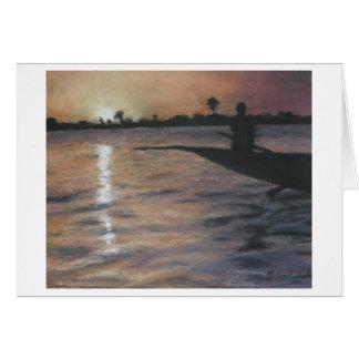 Navegante de la piragua, río de Bani Tarjeta De Felicitación