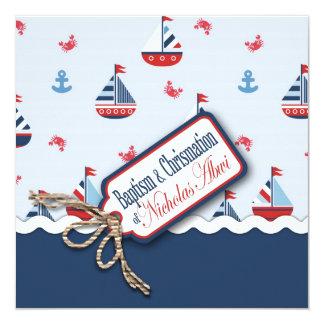 """¡Naves Ahoy! Bautismo C cuadrada Invitación 5.25"""" X 5.25"""""""