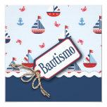 ¡Naves Ahoy! Bautismo C_Spanish cuadrado Invitación 13,3 Cm X 13,3cm