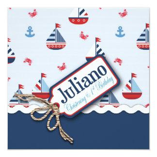 """¡Naves Ahoy! Bautismo Juliano Invitación 5.25"""" X 5.25"""""""
