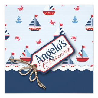 """¡Naves Ahoy! Bautismo Square_Angelo Invitación 5.25"""" X 5.25"""""""