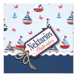 """¡Naves Ahoy! Bautismo Square_Nektarios Antonio Invitación 5.25"""" X 5.25"""""""