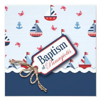 """¡Naves Ahoy! Bautismo Square_Panagiotis Invitación 5.25"""" X 5.25"""""""