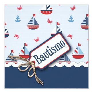 """¡Naves Ahoy! Bautismo Square_Spanish Invitación 5.25"""" X 5.25"""""""