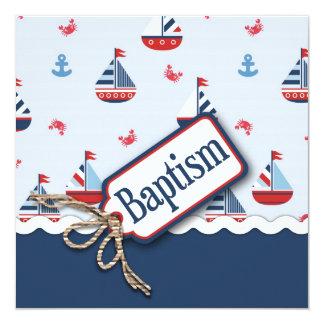 """¡Naves Ahoy! Bautismo Square_Zip Code2 Invitación 5.25"""" X 5.25"""""""