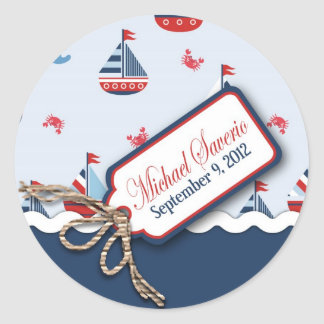 ¡Naves Ahoy! Bautismo Sticker_Michael Saverio 2 Pegatina Redonda