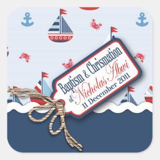 ¡Naves Ahoy Bautismo Sticker_Nicolas cuadrado Calcomanía Cuadrada