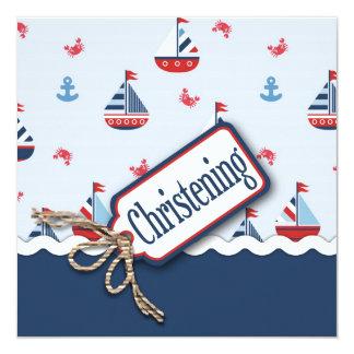 """¡Naves Ahoy! Cuadrado 2 del bautismo Invitación 5.25"""" X 5.25"""""""