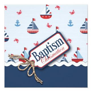 """¡Naves Ahoy! Cuadrado del bautismo Invitación 5.25"""" X 5.25"""""""