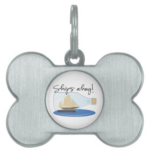 Naves ahoy placa de nombre de mascota