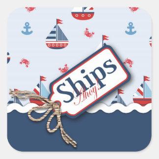 ¡Naves Ahoy Pegatina cuadrado 2