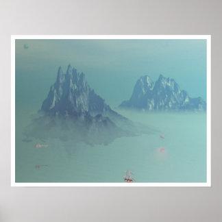 Naves alrededor de las montañas azules impresiones