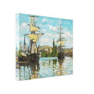 Naves de Claude Monet que montan en el Sena en Impresión En Lienzo