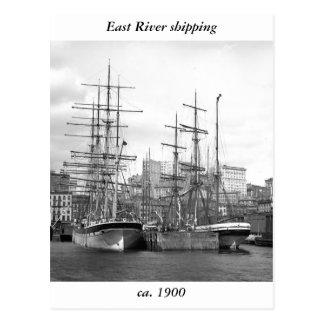 Naves de East River 1900 Tarjeta Postal
