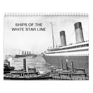 Naves de la línea blanca de la estrella calendario de pared
